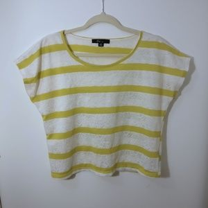 FOREVER 21  Lacey Lime/white striped crop top